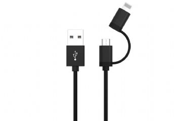 ANSMANN 2-in-1 USB Charging + Data Cable Micro USB + Apple Lightning 1.2m Black